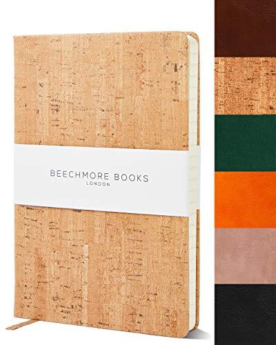 Bullet Notebook | Gepunktetes Notizbuch | Tagebuch A5 von Beechmore Books | Festeinband Veganes Leder, Dickes Papier 160 g/m², Journal in Geschenkschachtel, 21x15cm (Kork-Design)