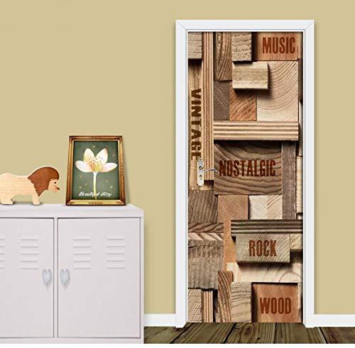 Zelfklevende sticker 3D-print-sticker, geometrisch houten letterplaat, wooncultuur, papierkastdeur, waterdicht, verwijderbaar poster 85 * 200cm