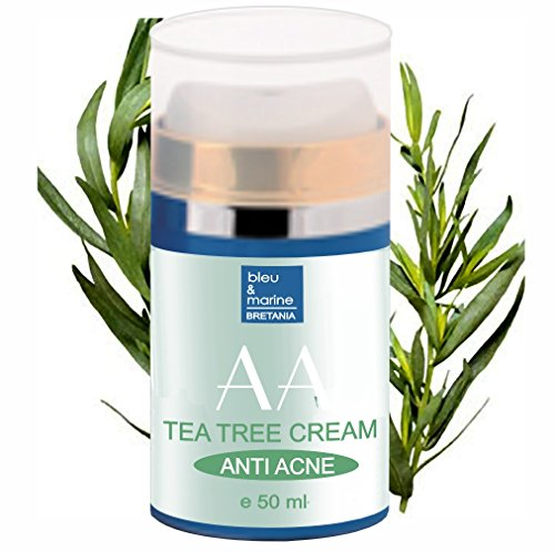 Crema Hidratante Anti Acné con Arbol de Té, Ginseng y Vitamina E 50 ml - Unisex - Piel Grasa - Neutraliza la formación de los granos
