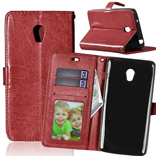 FUBAODA für Lenovo Vibe P1 Tasche Schwarz+Kostenlos Syncwire Ladekabel, Leder Hülle,Flip Leder Money Brieftasche,Hülle für Lenovo Vibe P1(P1c72 P1c58)(braun)