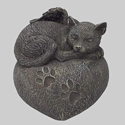 Katzen Urne grau als Katzen-Engelfigur auf Herz, Tierurne