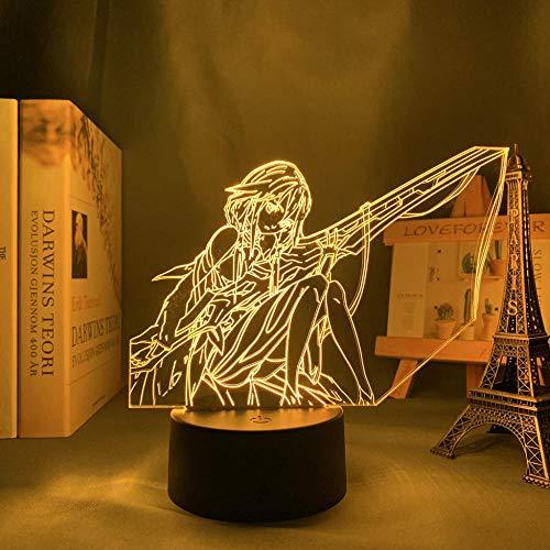 Lámpara de ilusión óptica 3D, decoración de Pascua, corona culpable Inori Yuzuriha 3D, lámpara decorativa para dormitorio, luz nocturna de cumpleaños, habitación, mesa de luz, anime, corona culpable