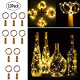 Twinkle Star Wine Bottle Cork Lights Fairy String Lights, 20 LED 6.5 FT Copper String...