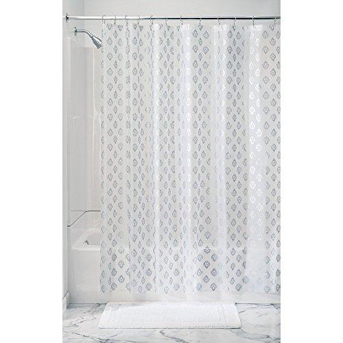 Price comparison product image InterDesign Decorative PVC PEVA 3-Gauge Shower Curtain Liner,  183 x 183 cm - Florence,  Silver