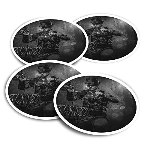 Adesivi in vinile (set da 4) 10 cm – BW – Steampunk Magician Magic Fun Decalcomanie per computer portatili, tablet, bagagli, libri di rottami, frigoriferi #41987
