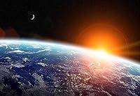 惑星地球の写真の壁紙の上の日の出壁の壁画の星-350x250CM
