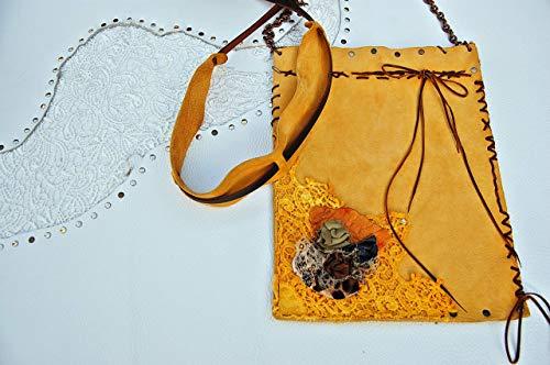 Bag. Romántico Bolso de piel de Melocotón con rosas de Cuero y Encaj