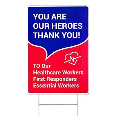 WaaHome Thank You Healthcare First Responders Essential Workers Yard Signs with Metal Wire H-Stakes, 12''X17'' Thank You Heroes Yard Sign