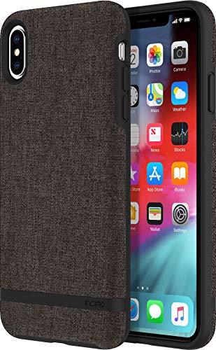 Incipio [Esquire Series] Carnaby Schutzhülle für Apple iPhone Xs Max - grau [Oberfläche aus Baumwolle I Robuste Hartschale I Edle Optik I Hybrid I Qi kompatibel] - IPH-1764-GRY
