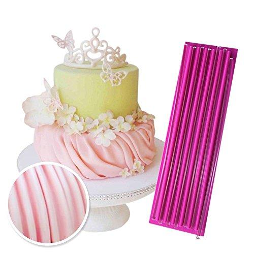 "ART Kitchenware 13""×3.9"" Gathering Drape Fondant Molds Gum Paste Decor Impression Mat Silicone Lace Mould Cake Decorating Tools with 7 Acrylic Sticks Cake Craft Tools for Bakery BLM-24"