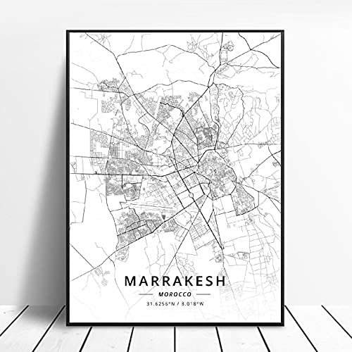 zhuifengshaonian Póster Mapa del Arte de la Lona de Rabat Tánger Casablanca Marrakech Marruecos (ZW-1833) Sin Marco Poster 40x60cm