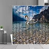 XCBN Lakes White Swan Heart Cortina de Ducha Amantes Decoración de baño Cortinas Impermeables Pantalla de baño Tela para Colgar en la Pared A3 90x180cm