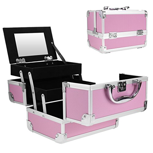 Professional Small Makeup Train Case - Cosmetic Box with Adjustable Dividers - Aluminum Make Up Artist Organizer Kit With Mirror Jewelry Box - 3 Extendable Trays