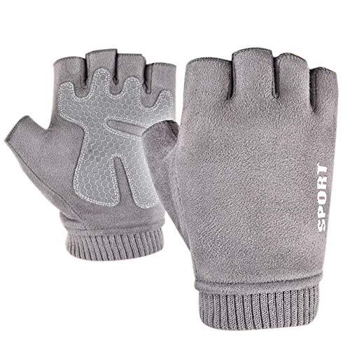 Dasorende Winter Wildleder Fingerlose Handschuhe für Herren Halbfinger Cabrio Mittens Handschuhe