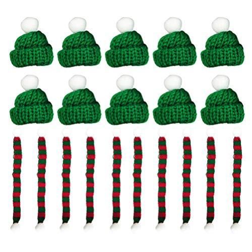 Amosfun Wijnfles Sjaal Hoed Kerstmis Mini Sjaal Planten Decor Poppenkleding voor Kerstmis Vakantiewoning Decoratie 20 stks 23*1CM Rood 2