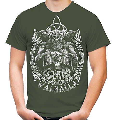 Sieg oder Walhalla Männer und Herren T-Shirt | Odin Wikinger Valhalla Geschenk | M1 Front (XXL, Olive)