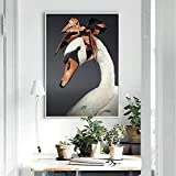 YuanMinglu Pintura de Cisne impresión de Arte póster de Moda Lienzo Pintura al óleo Sala de Estar decoración de póster Pintura sin Marco 75x103cm
