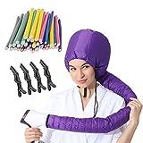 (3 in 1) Pack 24 pcs Flexi Twist Foam Hair Curler Rollers Curling Rods 9.45' Long+ Hair Dryer Bonnet Attachment + 4 Hair Styling Clips