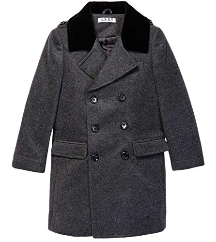 Isaac Mizrahi Boy's CT1011 2-20 Double Breasted Wool Blend Peacoat - Charcoal - 2