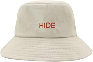 TOTOD Retro Basin Cap Sunshade Hat - Fashion Women Hide Letter Embroidery Fisherman Hat Visor Collapsible