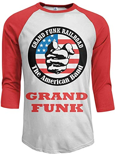 K TOO Grand Funk Railroad Mens Cotton 3/4 Raglan Sleeves Baseball T-Shirt Red,Large