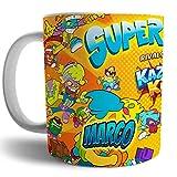 Taza Superzings serie 8, kazoomkids personalizada con nombre, regalo para niños original