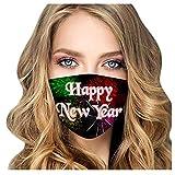 MA87 Adult 2021 Happy New Years Mundschutz mit Feuerwerk, waschbar und wiederverwendbar, Mund und Nasenschutz, Bandana ace-Mouth Cover Sommerschal Mundbedeckung Atmungsaktive Staubs Schutz