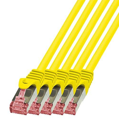 BIGtec - 5 Stück - 1m Netzwerkkabel Patchkabel Ethernet LAN DSL Patch Kabel Gigabit gelb (2X RJ-45 Anschluß, CAT6, doppelt geschirmt) 1 Meter