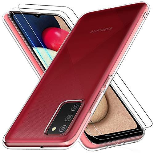 Bkeke Cover Compatibile con Samsung Galaxy A02S con 2 Pezzi Pellicola Protettiva in Vetro Temperato, Morbido Silicone Protettivo Bumper TPU Gel Smartphone Custodia Case, Trasparente