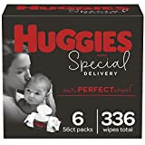 Baby Wipes, Huggies Special Delivery, UNSCENTED, Hypoallergenic, 6 Flip-Top Packs, 336 Count