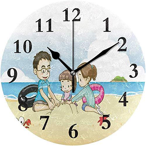 Cy-ril Reloj de Pared Redondo Niños Jugando con Arena en el Reloj de Playa para la decoración del hogar Creativo