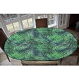 Mantel ajustable de poliéster elástico con diseño de hojas de palma, estampado de hojas de bosque exótico, rectangular, ovalado, elástico, se adapta a mesas de hasta 122 cm de ancho x 172 cm de largo