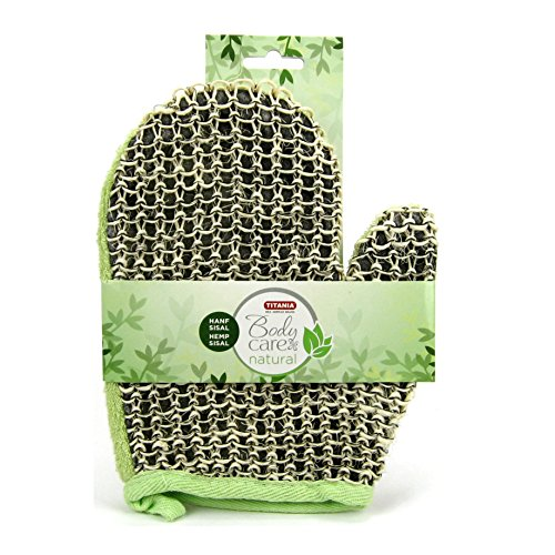 Titania Bade Massage Handschuh Hanf Sisal grün