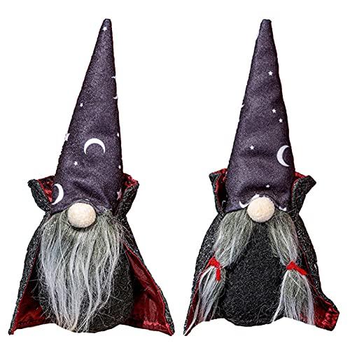LOVOICE 2 unidades de peluche de Halloween, enano de capa negra, peluche dulce tomte sueco, decoración de mesa para el hogar