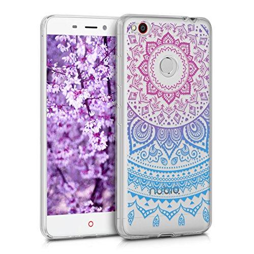 kwmobile ZTE Nubia N1 Hülle - Handyhülle für ZTE Nubia N1 - Handy Case in Indische Sonne Design Blau Pink Transparent