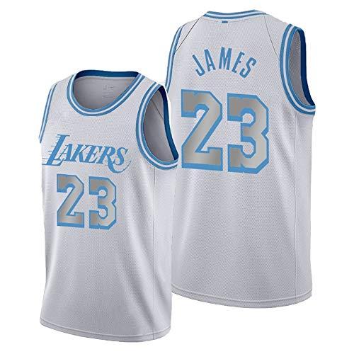 Dybory Nueva Camiseta para Hombre Y Mujer Lakers 23# Lebron James Jerseys, Tops Transpirables Bordados 2020-2021 City Edition Basketball Swingman,Blanco,S