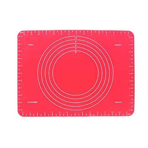 OUNONA Backmatte Silikon Hitzebeständige Backunterlage Teigmatte rutschfest für Backen Hilfe(rot)