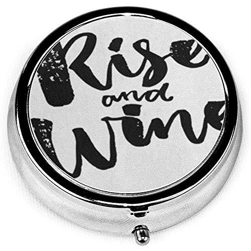 Runder Pillenkoffer mit 3 Fächern; Reise-Pillen-Kasten, der Aufstiegs-Wein lustiges Saiyng über BQuote-Getränk-Alkohol-Slogan sagt