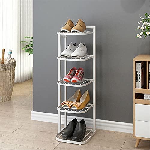 Lzcaure Zapatero de 5/8 capas de hierro para zapatos, estante organizador para casa, oficina, almacenamiento de pasillo, sala de estar, baño (tamaño: 80 x 50 cm, color: blanco)