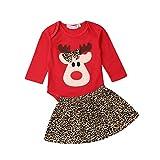 Bebé Navidad Vestido 2 Piezas Traje para Niña Recién Nacida Conjunto Mameluco de Manga Larga con Dibujo de Reno Falda Leopardo Ropa Disfraz de Giesta Navidad para Bebés (0-18 Meses)