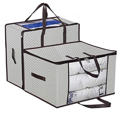 homyfort 2 Stück Aufbewahrungstasche für Bettdecken und Kissen - Kleidung Lagerplätze, Decken Organisator Lagerbehälter, Haus bewegen Tasche Feuchtigkeit Geschützt 58x 49x 35 cm 99.5L, Beige, X3MR60M