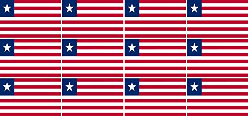 Mini Aufkleber Set - Pack glatt - 50x31mm - Sticker - Liberia - Flagge - Banner - Standarte fürs Auto, Büro, zu Hause & die Schule - 12 Stück