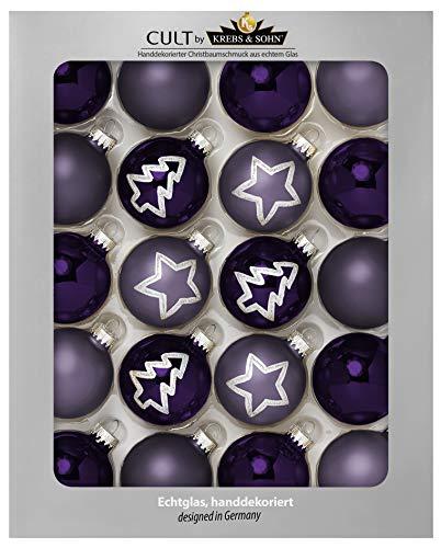 KREBS & SOHN Set Weihnachtskugeln aus Glas 5,7 cm - Christbaumschmuck Christbaumkugeln Weihnachtsdeko - 20-teilig, Lila, Silber, Tannenbaum, Stern