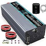 FLAMEZUMインバーター 正弦波 3000W 12Vを100Vに変換 50hz/60hz切り替え可能 瞬間最大6000W 4.5mのリモコン一つ 2.4AのUSBポート付き ACコンセント 4口 リモコンつき LEDディスプレイつき (12V 100V-110V, 3000W 正弦波インバーター ( リモコン))