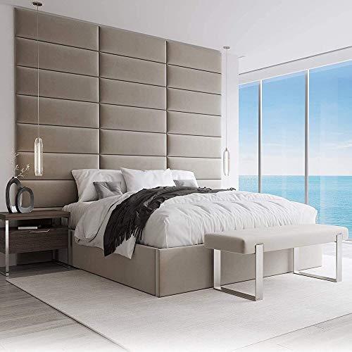 VANT Paneles de pared con Tapizados - Paquetes 4 - Fácil de Instalar - Cabecera Twin-King Size (76cm Ancho, Tormenta de Arena de Terciopelo de Felpa)