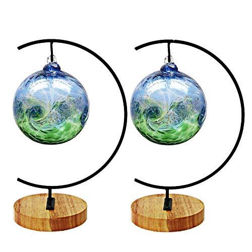 Ornament Display Ständer Halter Home Hochzeit Dekoration Rack zum Aufhängen Glas Globe Luft Pflanze Blumentopf Ständer Eisen Pothook Ständer Terrarium Hexe Ball (2, Holz)