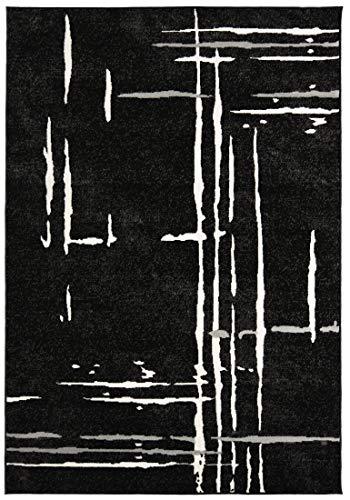 Carpeto Rugs Kurzflor Teppich - für Wohnzimmer, Schlafzimmer, Esszimmer - Modern Abstrakt Muster Schwarz 300 x 400 cm