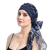 URSING Damen Baumwolle Kopftuch Bandana Hat Fur Haarverlust Frauen Indien Muslim Elastic Turban Chiffon Drucken Long Tail Hut Kopftuch Wrap