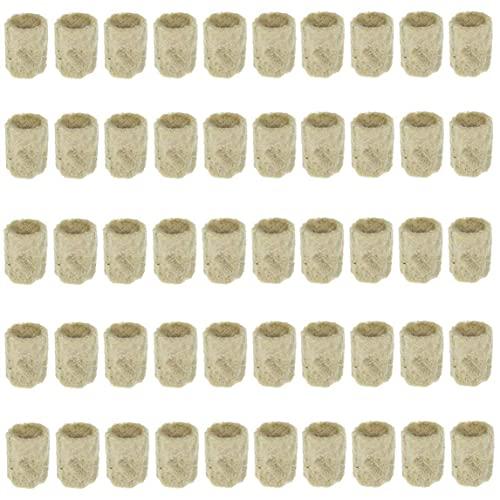 Sanfiyya Las Plantas de Lana de Roca Cubo de propagación hidropónica Hortalizas Bloque cilíndrico de semillero invernaderos Cultivo Sistema de jardinería Accesorios 50PCS crecientes