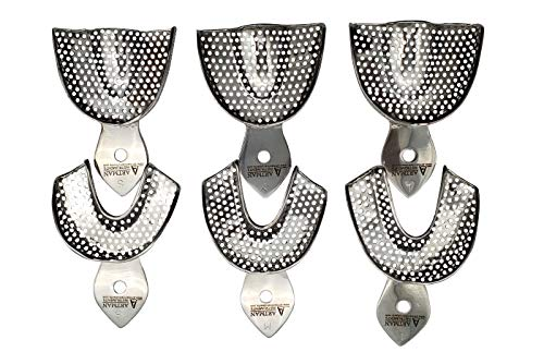 Dental Impression Trays 6 Heavy Duty Small Medium Large Upper and Lowers Stainless Steel by Wise Linkers USA